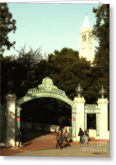 Uc Berkeley . Sproul Plaza . Sather Gate And Sather Tower Campanile . 7d10027 Greeting Card by Wingsdomain Art and Photography