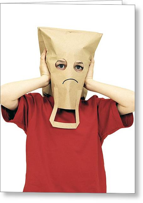 Brown Paper Bag Greeting Cards - Unhappy Boy Greeting Card by Kevin Curtis