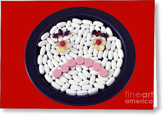Pill Greeting Cards - Unhappy Pills Greeting Card by Photo Researchers, Inc.