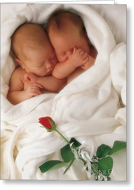 White Robe Greeting Cards - Untitled Greeting Card by Anne Geddes