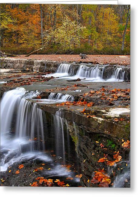 Indiana Autumn Greeting Cards - Upper Cataract Falls Owen County Indiana Greeting Card by Marsha Williamson Mohr