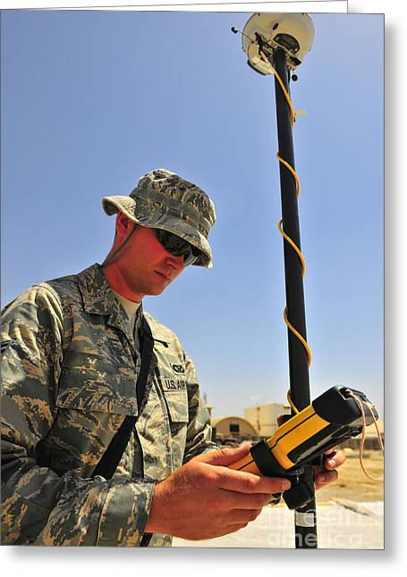 Navigational Greeting Cards - U.s. Air Force Engineer Using Global Greeting Card by Stocktrek Images