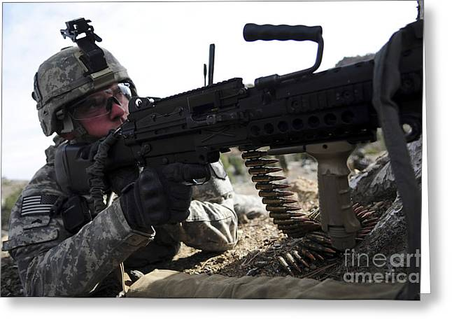 Fed Greeting Cards - U.s. Army Soldier Provides Security Greeting Card by Stocktrek Images