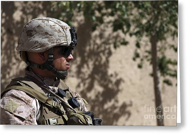 Helmand Province Greeting Cards - U.s. Marine Provides Security Greeting Card by Stocktrek Images