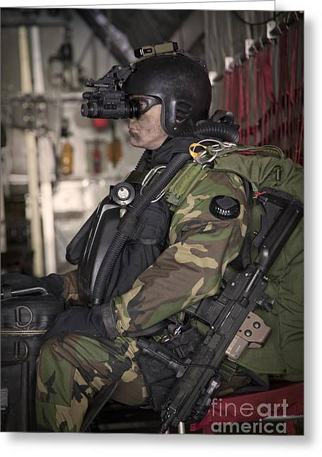 U.s. Navy Seal Equipped With Night Greeting Card by Tom Weber