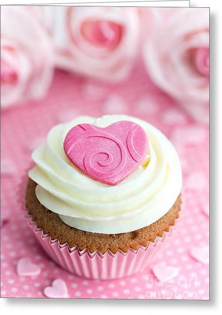 Fairy Hearts Pink Flower Greeting Cards - Valentine cupcake Greeting Card by Ruth Black