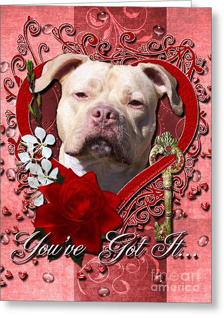Bullie Greeting Cards - Valentines - Key to My Heart Pitbull Greeting Card by Renae Laughner