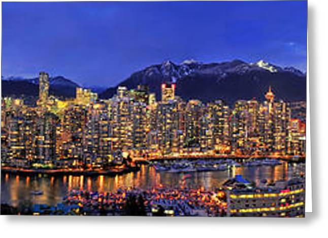 Vancouver Greeting Cards - Vancouver Skyline Panorama Greeting Card by Wesley Allen Shaw
