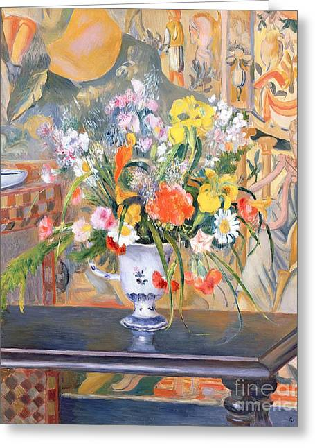 Interior Still Life Paintings Greeting Cards - Vase of Flowers Greeting Card by Pierre Auguste Renoir