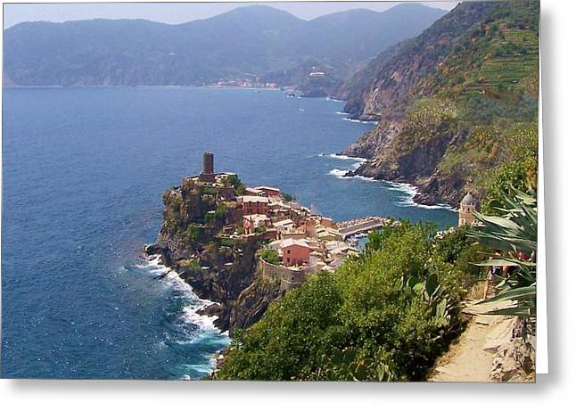 Mediterranean Landscape Greeting Cards - Vernazza Cinque Terre Italy Greeting Card by Marilyn Dunlap