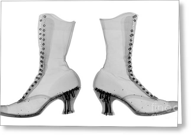 Black Boots Greeting Cards - Victorian Ladies Boots Greeting Card by Ted Kinsman