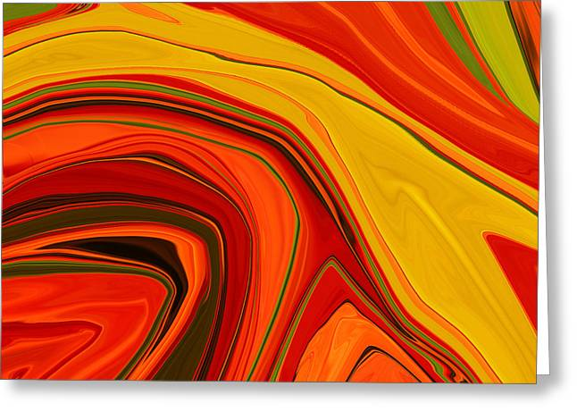 Tangerine Greeting Cards - Warmth Greeting Card by Bonnie Bruno