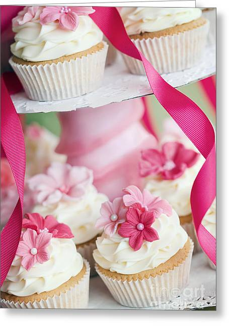 Tea Party Greeting Cards - Wedding cupcakes Greeting Card by Ruth Black