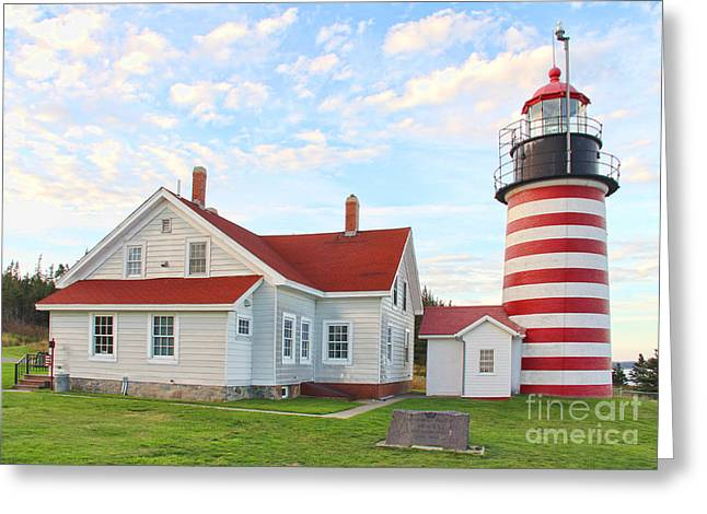 West Quoddy Head Lighthouse Greeting Cards - West Quoddy Head Lighthouse Greeting Card by Jack Schultz