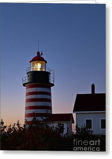 Lubec Greeting Cards - West Quoddy Head Lighthouse Greeting Card by John Greim