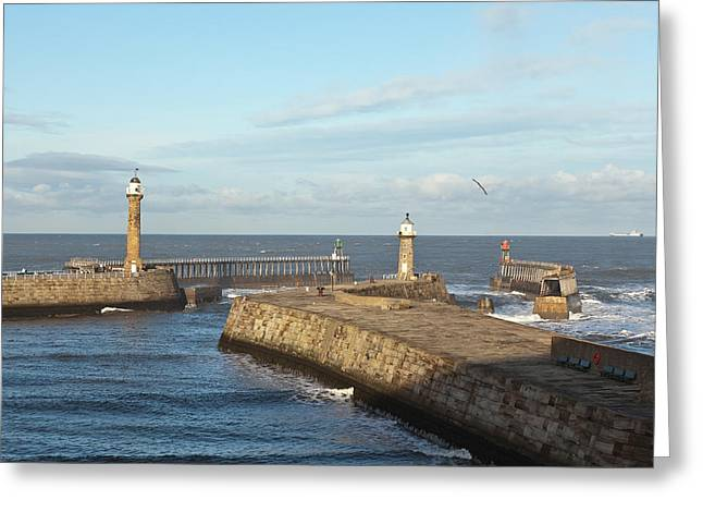 Abbey Giclee Print Greeting Cards - Whitby harbour Greeting Card by Gary Finnigan