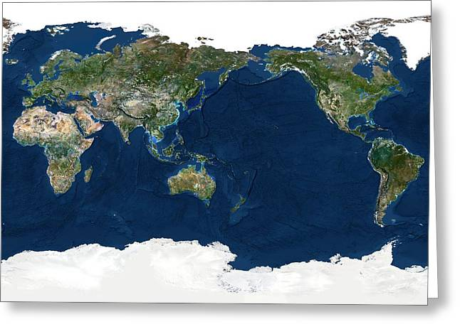 Planet Map Greeting Cards - Whole Earth, Satellite Image Greeting Card by Planetobserver