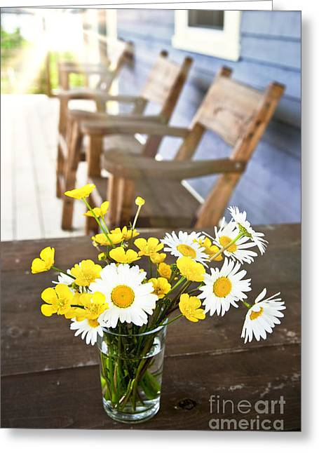 Deck Chairs Greeting Cards - Wildflowers bouquet at cottage Greeting Card by Elena Elisseeva
