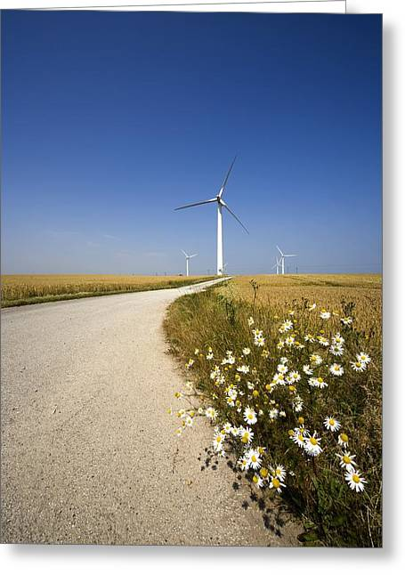 Environmental Concerns Greeting Cards - Wind Turbine, Humberside, England Greeting Card by John Short