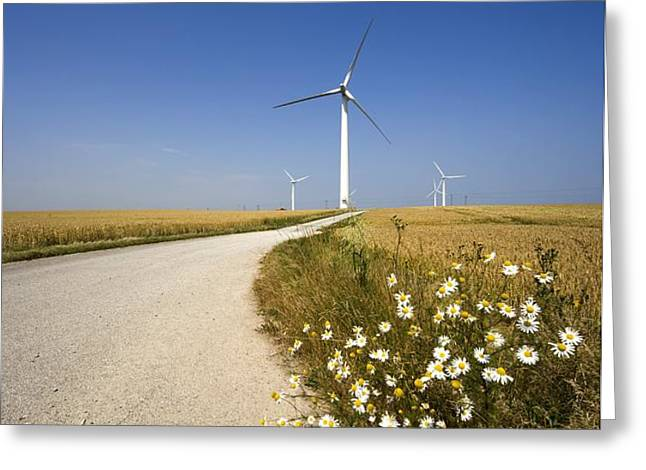 Wind Turbine, Humberside, England Greeting Card by John Short