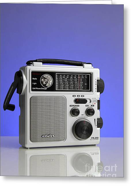 Analog Greeting Cards - Wind-up Radio Greeting Card by Photo Researchers, Inc.