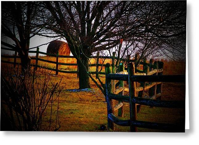 Hayrolls Greeting Cards - Winding Fence Greeting Card by Joyce Kimble Smith