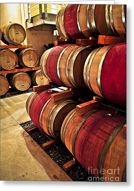 Hoops Photographs Greeting Cards - Wine barrels Greeting Card by Elena Elisseeva
