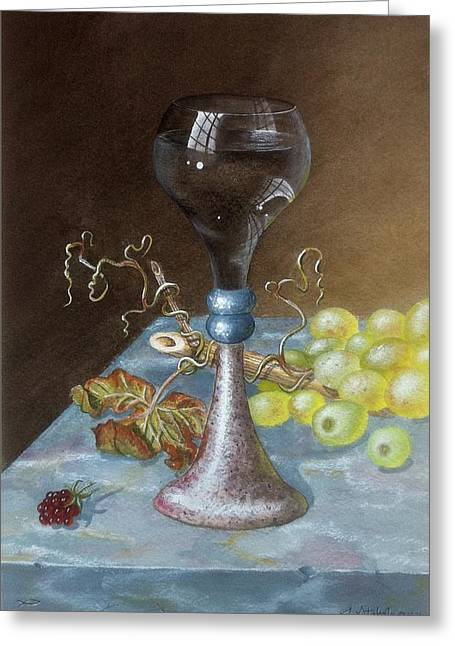 Marble Top Table Greeting Cards - Wineglass Greeting Card by Terry  Stokely