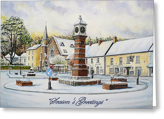 Town Square Drawings Greeting Cards - Winter in Twyn Square Greeting Card by Andrew Read