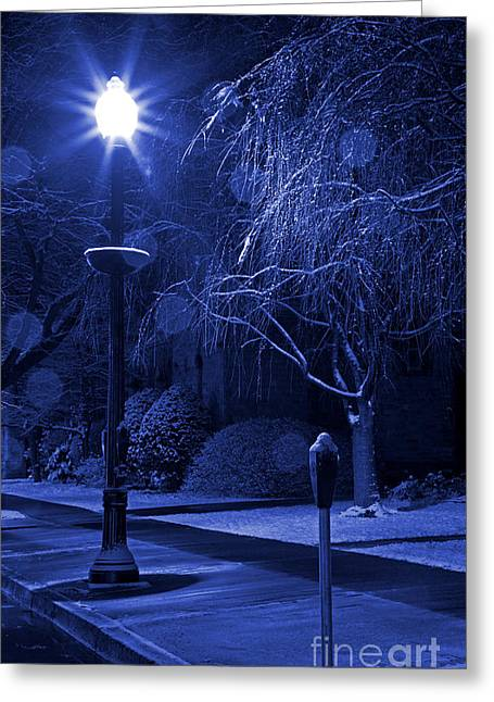 Winter Storm Greeting Cards - Winter Sidewalk Blues Greeting Card by John Stephens