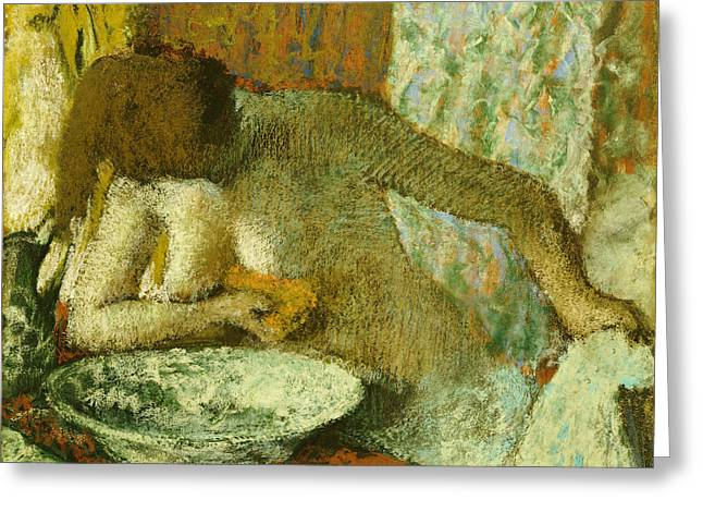 Figures Pastels Greeting Cards - Woman at her Toilet Greeting Card by Edgar Degas