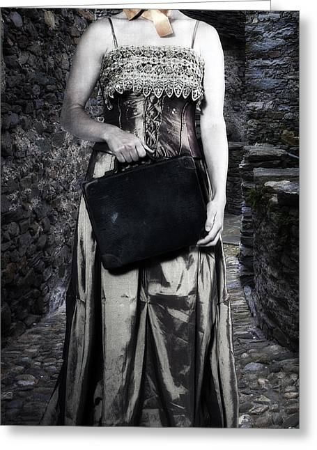 Old Stone Greeting Cards - Woman In Alley Greeting Card by Joana Kruse