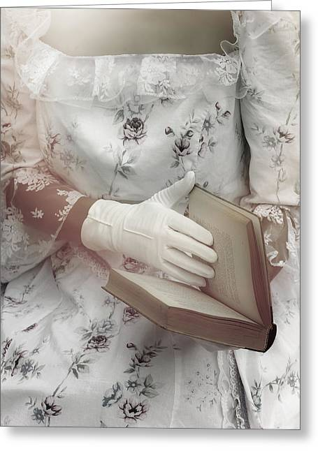Lace Gloves Greeting Cards - Woman With A Book Greeting Card by Joana Kruse