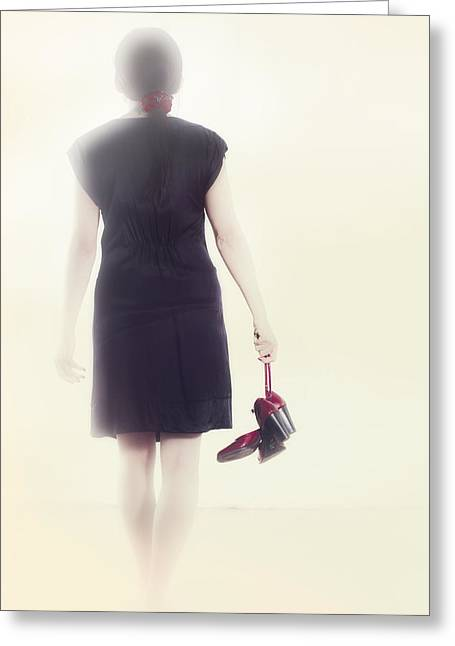 Red Shoe Greeting Cards - Woman With Shoes Greeting Card by Joana Kruse