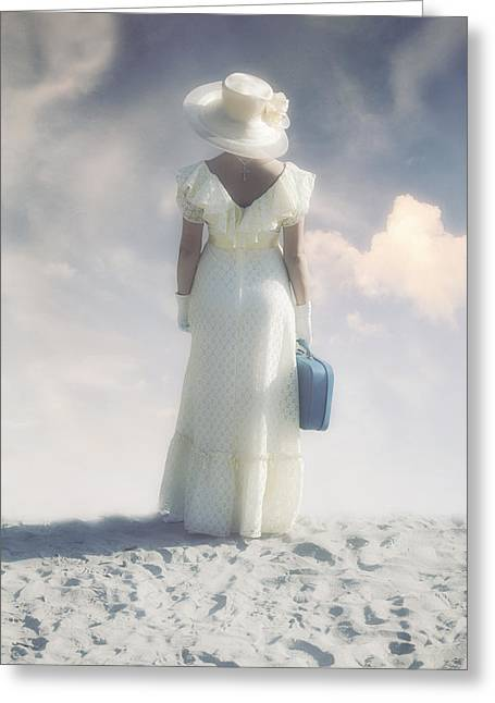 Blue Necklace Greeting Cards - Woman With Suitcase Greeting Card by Joana Kruse