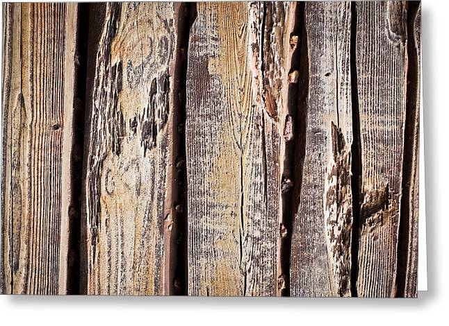 Old Plank Tables Greeting Cards - Wood background Greeting Card by Tom Gowanlock