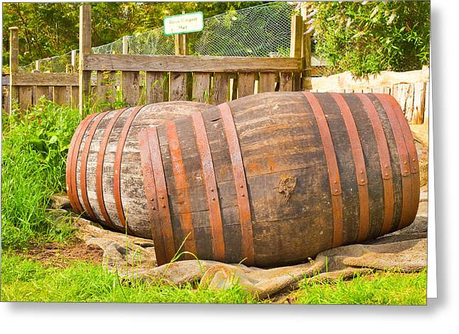 Convex Greeting Cards - Wooden barrels Greeting Card by Tom Gowanlock