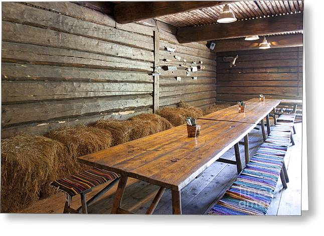 Best Sellers -  - Log Cabin Interiors Greeting Cards - Wooden Dining Tables Greeting Card by Jaak Nilson