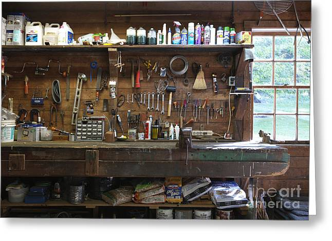 Workspace Greeting Cards - Work Bench and Tools Greeting Card by Adam Crowley