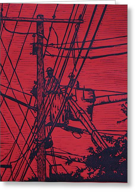 Lino Print Greeting Cards - Working on Lines Greeting Card by William Cauthern