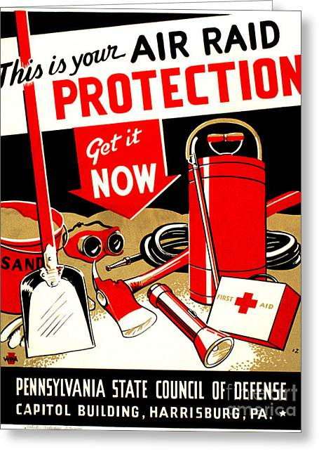 Silkscreen Greeting Cards - WORLD WAR II POSTER, c1943 Greeting Card by Granger