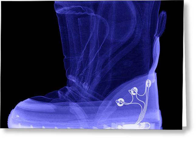 Terrorism Greeting Cards - X-ray Of A Childs Light-up Boot Greeting Card by Ted Kinsman