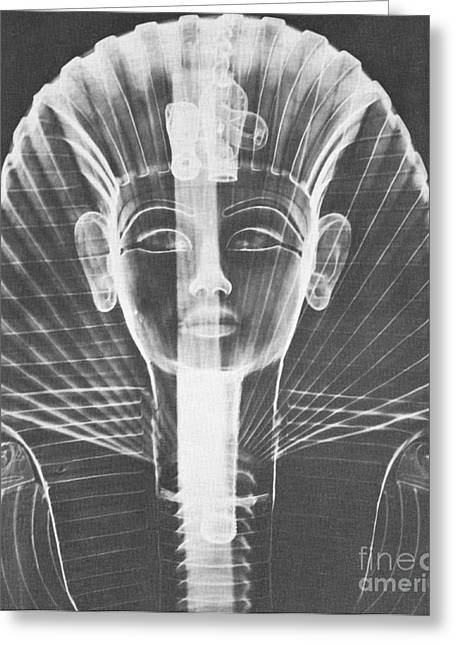 Egyptian Art Greeting Cards - X-ray Of An Egyptian Mask Greeting Card by Photo Researchers