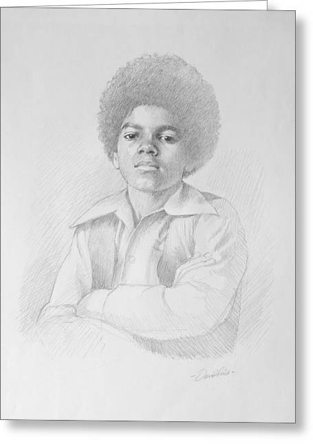 Thriller Drawings Greeting Cards - young Michael Greeting Card by David Price