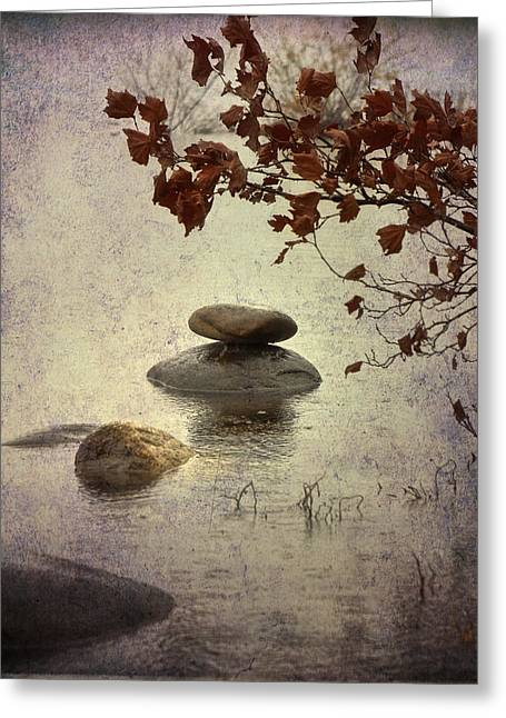 Raining Greeting Cards - Zen Stones Greeting Card by Joana Kruse