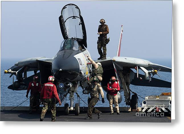 Carrier Greeting Cards - An F-14d Tomcat On The Flight Deck Greeting Card by Gert Kromhout