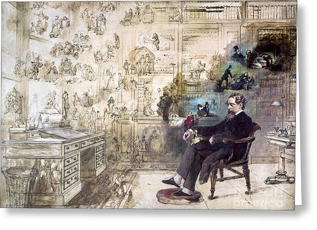 Fine Art Greeting Cards - Charles Dickens (1812-1870) Greeting Card by Granger