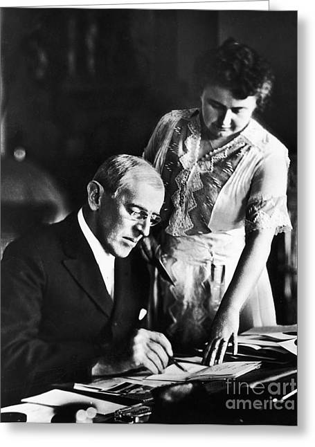 Galt Greeting Cards - Woodrow Wilson (1856-1924) Greeting Card by Granger