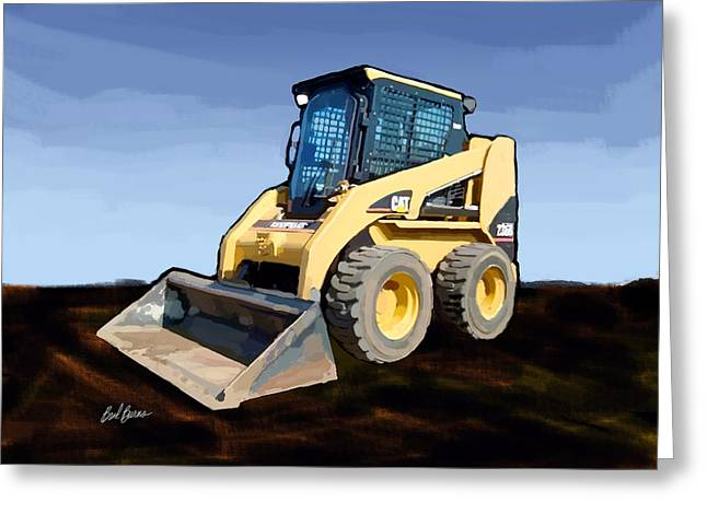 Underground Utilities Greeting Cards - 2007 Caterpillar 236B Skid-Steer Loader Greeting Card by Brad Burns