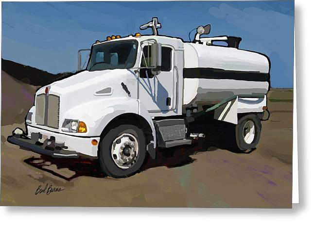 Happy Man Greeting Cards - 2007 Kenworth T300 Water Truck Greeting Card by Brad Burns